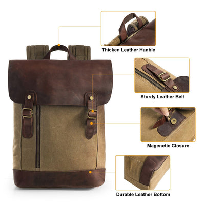 Vintage Canvas Leather Laptop Backpack