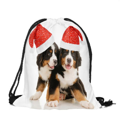 I love Puppy Santa Drawstring Bag