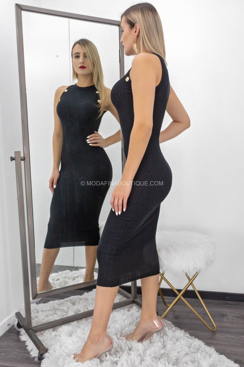 Andrea Sleeveless Ribbed Midi Dress-Midi Dress-Moda Fina Boutique