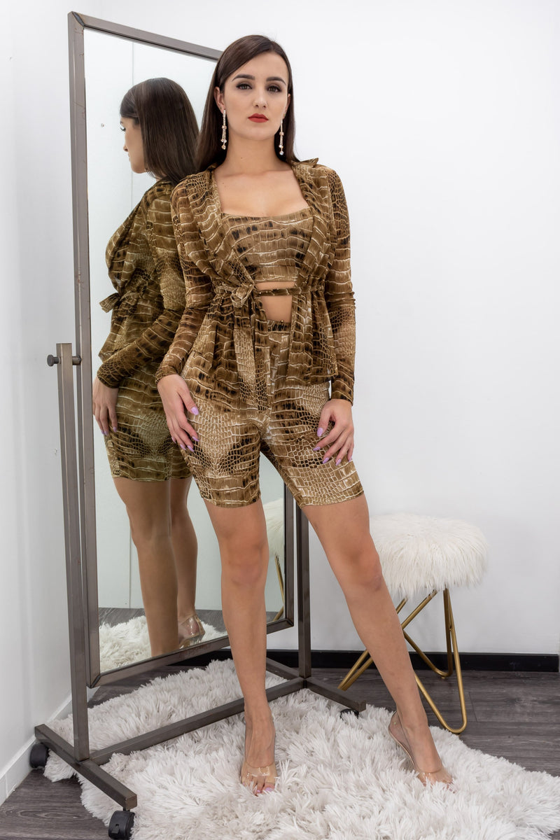 Animal Print Three Piece Long Sleeve Belted Romper-Romper-Moda Fina Boutique