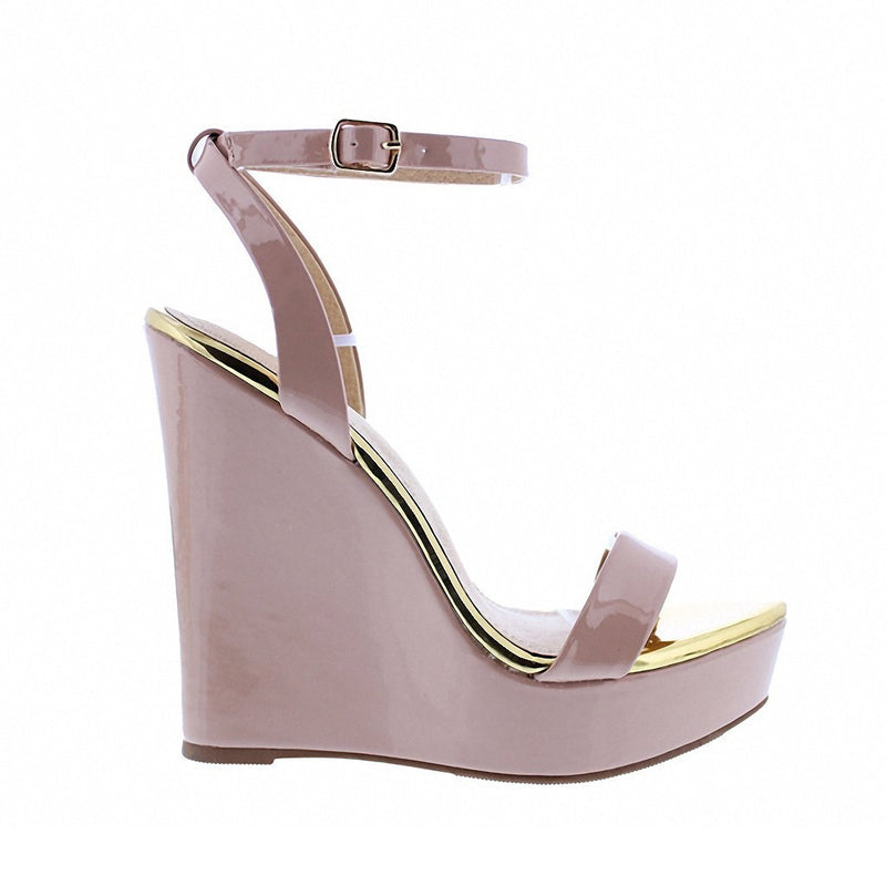 Ankle Strap Open Toe Faux Patent Wedge-Shoes-Moda Fina Boutique