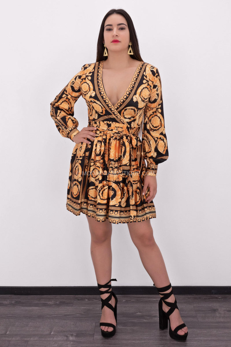 Audra Belted Print Mini Dress-Mini Dress-Moda Fina Boutique
