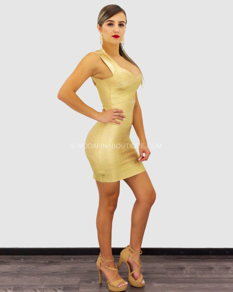 Betty Gold Foil Bandage Mini Dress-Mini Dress-Moda Fina Boutique