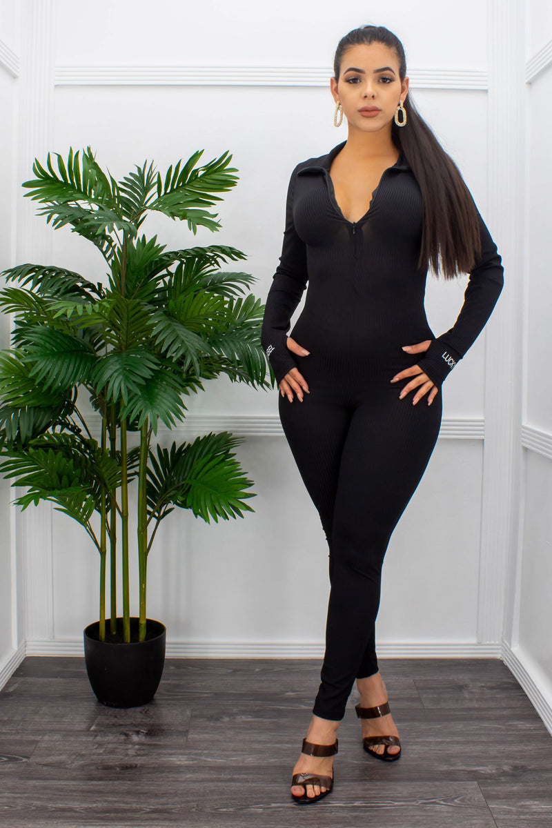 Black Long Sleeve Front Zipper Jumpsuit-Jumpsuit-Moda Fina Boutique
