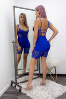 Blue Lace Back Less Skinny Romper-Romper-Moda Fina Boutique