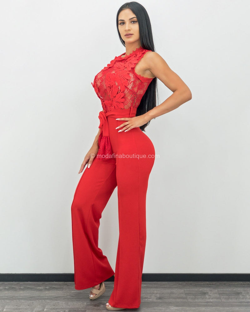 Carla Embroidered Lace Belted Jumpsuit-Jumpsuit-Moda Fina Boutique