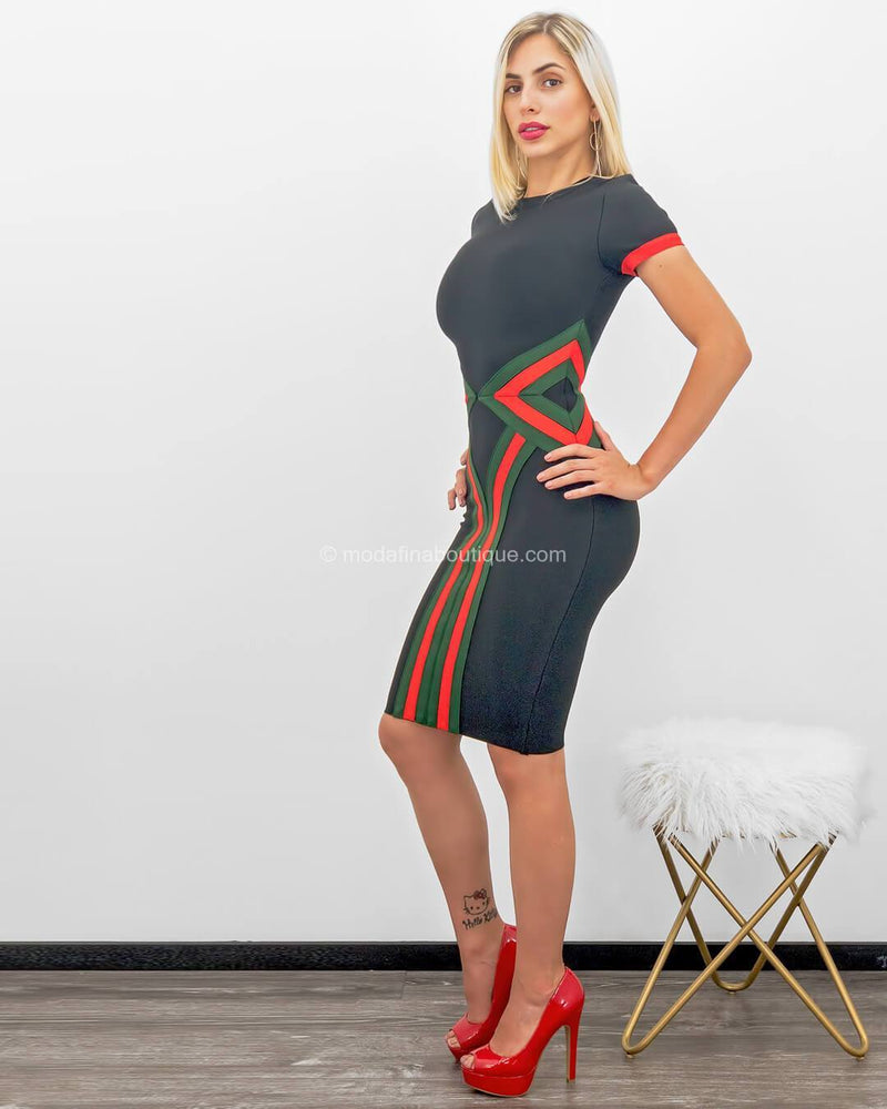 Catherine Contrasting Band Bandage Mini Dress-Mini Dress-Moda Fina Boutique