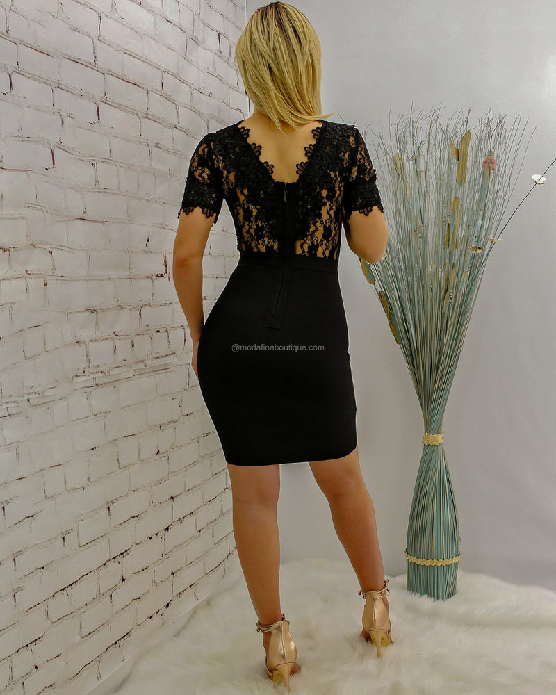 Charlotte Sheer Lace Bandage Detail Mini Dress-Mini Dress-Moda Fina Boutique