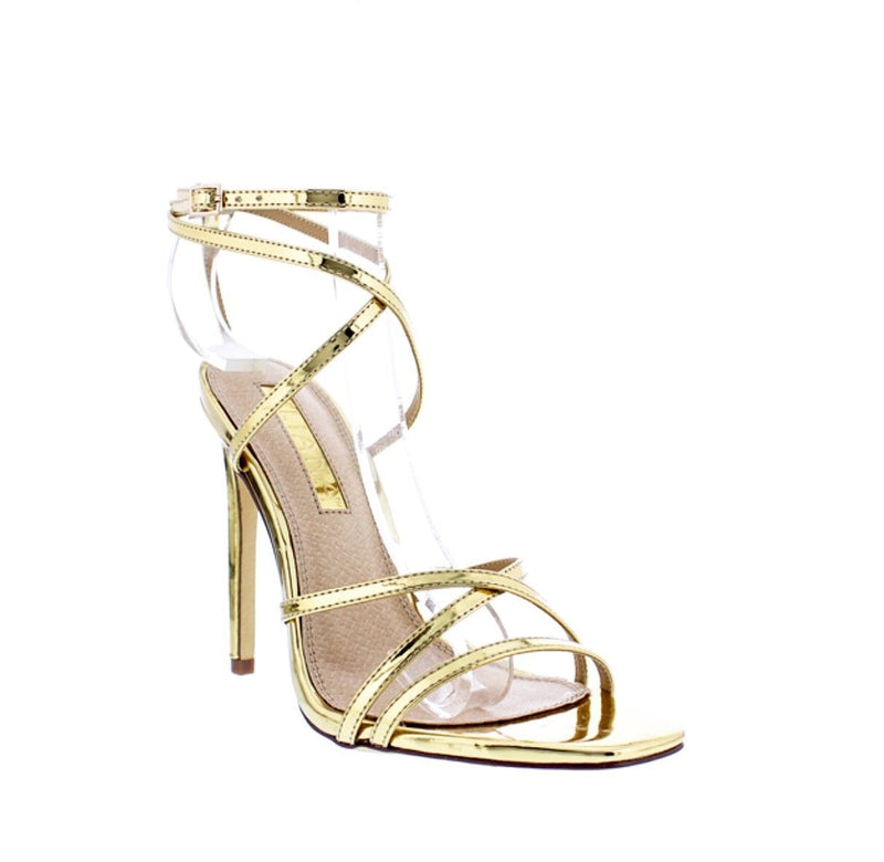 Crisscross Open Toe High Heels Patent Faux Leather-Shoes-Moda Fina Boutique