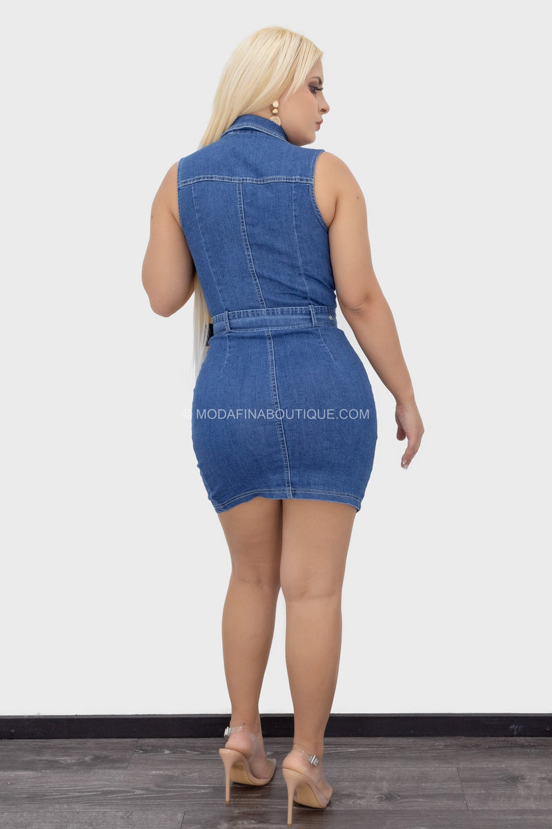 Denim Button Plunging Belted Mini Dress-Mini Dress-Moda Fina Boutique