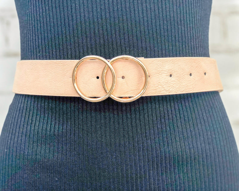 Double Circle Faux Distressed Leather Belt-Belts-Moda Fina Boutique