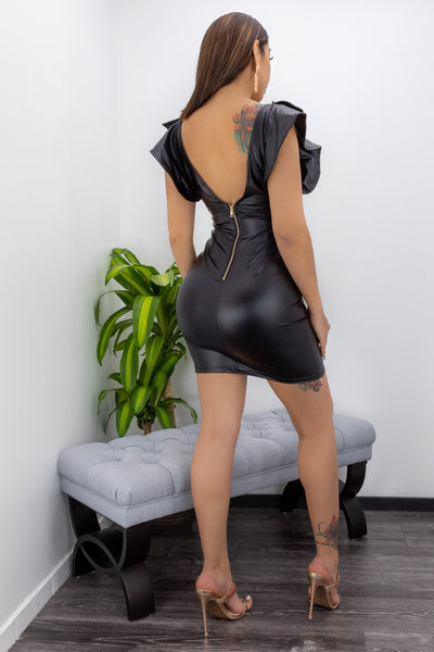 Faux Leather Mini Dress-Mini Dress-Moda Fina Boutique