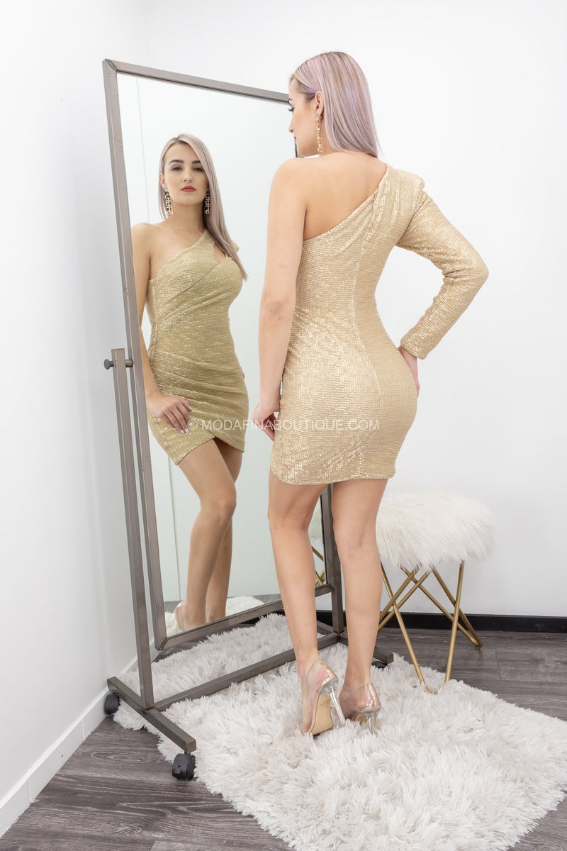 Gold Sequin Mini Dress-Mini Dress-Moda Fina Boutique