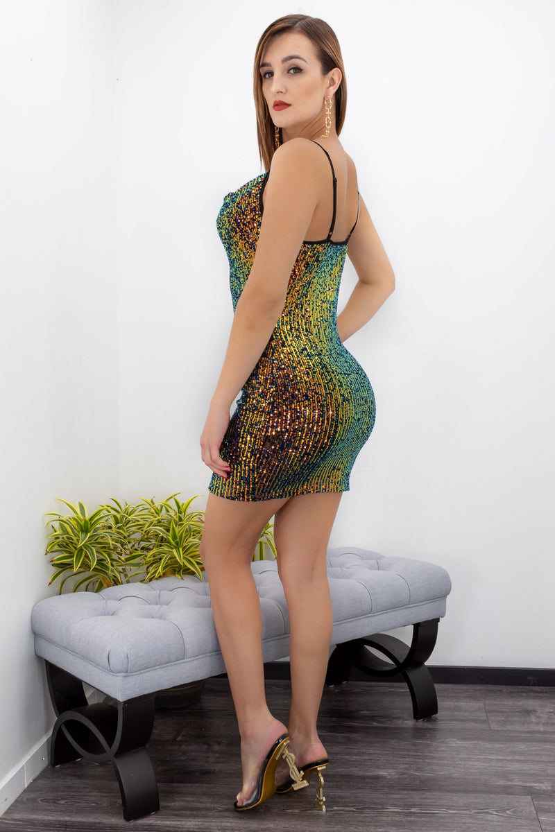 Green Blue Sequin Bodycon Mini Dress-Mini Dress-Moda Fina Boutique