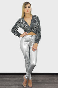 Grisel Long Sleeve Snakeskin Print Back Tie Top-Top-Moda Fina Boutique