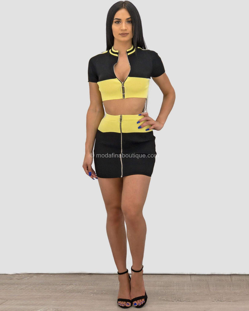 Heidi Contrasting Band Mini Skirt Set-Set-Moda Fina Boutique