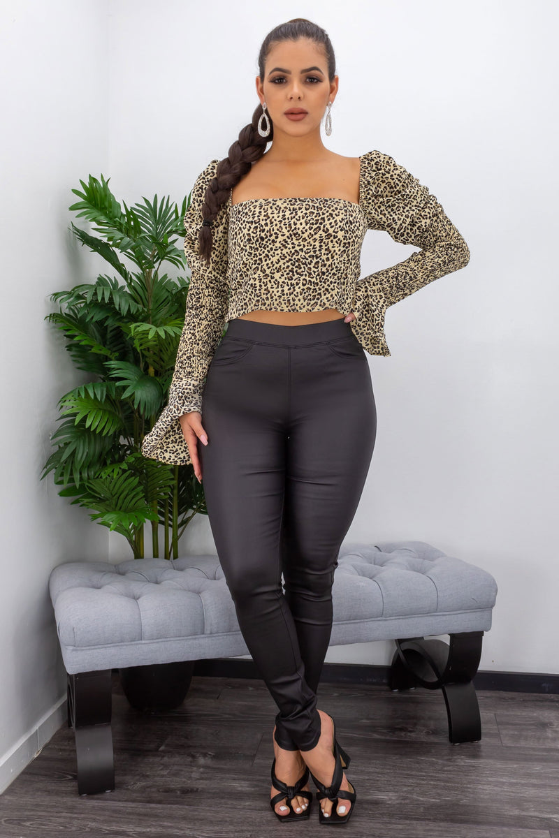 High Waist Back Pocket PU Leather Pants-Bottom-Moda Fina Boutique