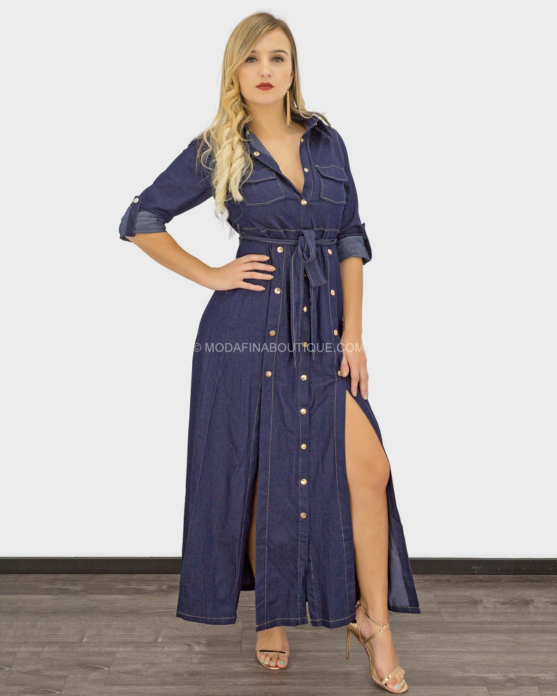 Houston Denim Button Belted Maxi Dress-Maxi Dress-Moda Fina Boutique