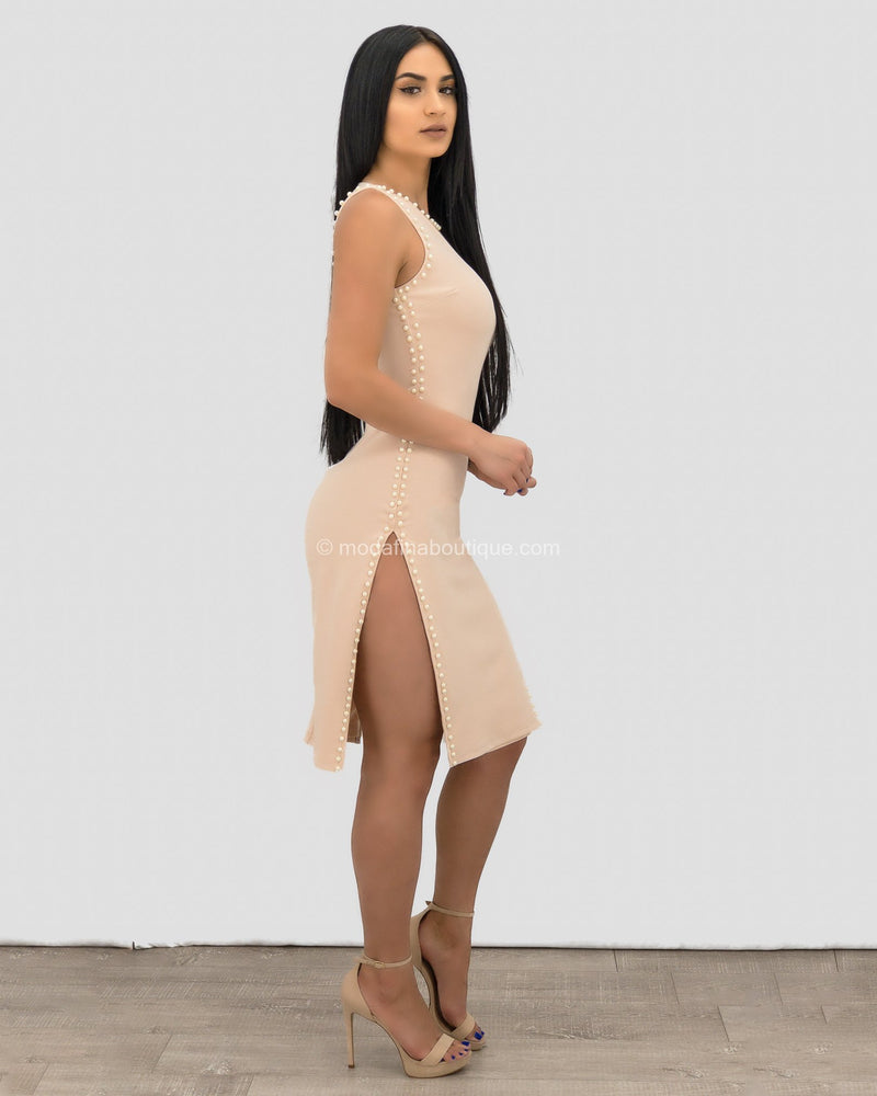 Jolie Pearl Embellished Slit Mini Dress-Mini Dress-Moda Fina Boutique