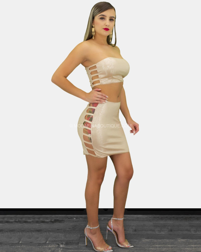 Kamila Dual Strappy Cutout Side Mini Skirt Set-Set-Moda Fina Boutique