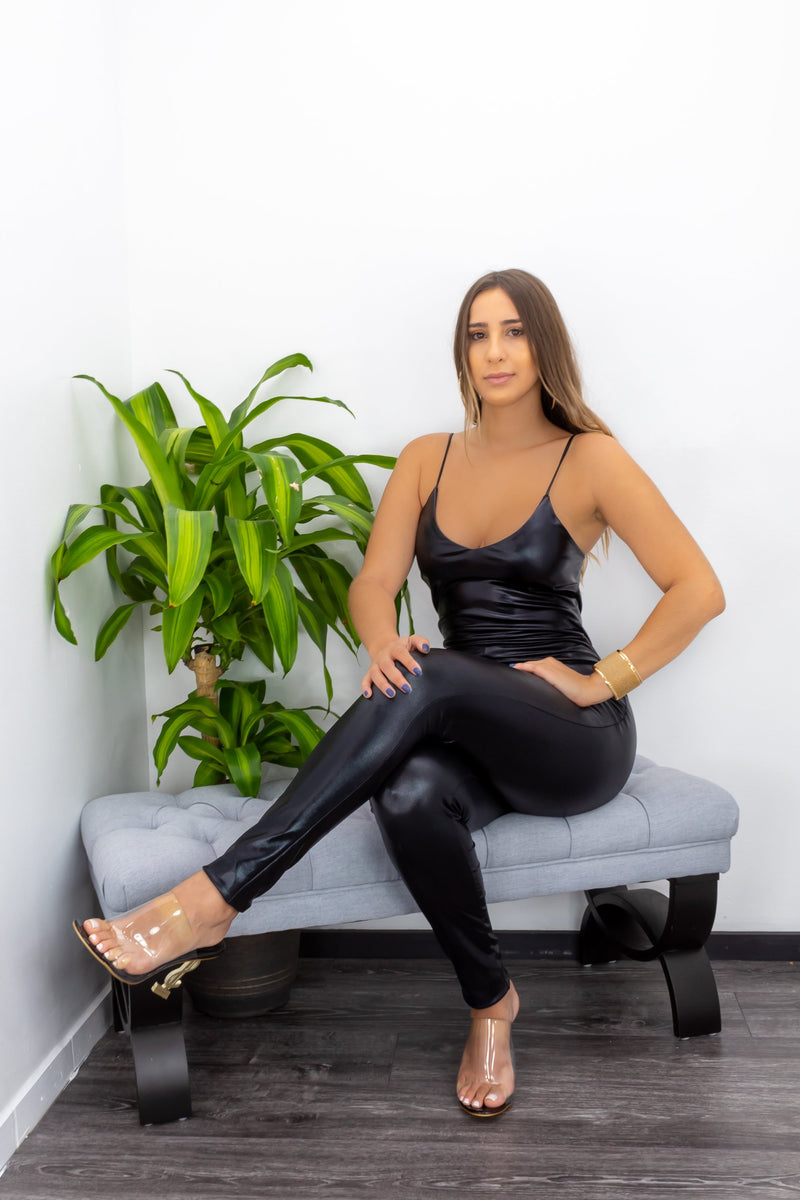Leather Skinny Open Back Jumpsuit-Jumpsuit-Moda Fina Boutique