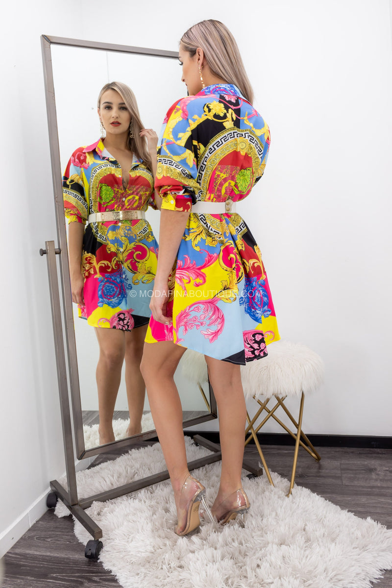Long Sleeve Print Bottom Mini Dress-Mini Dress-Moda Fina Boutique
