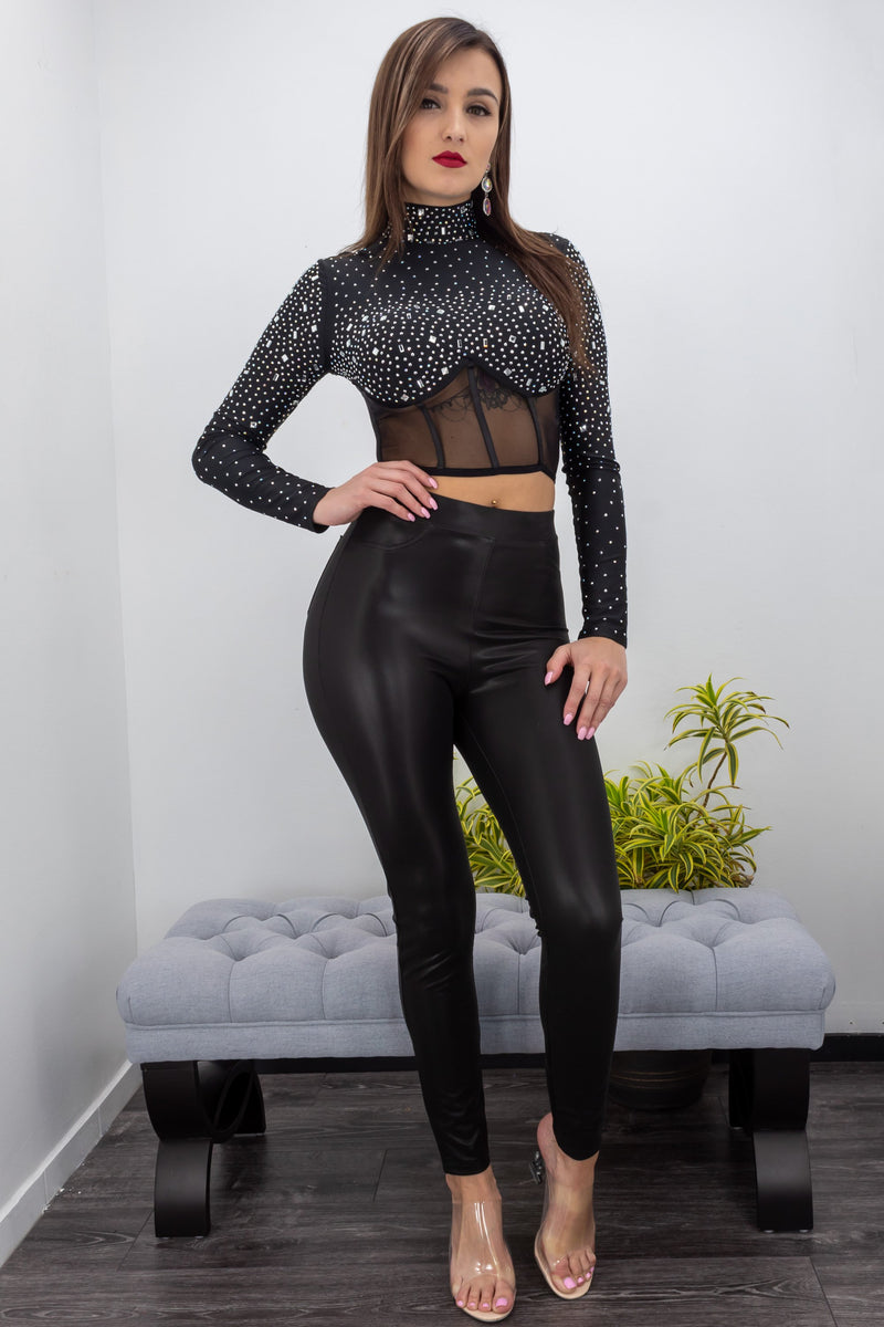Long Sleeve Sheer Rhinestone Top-Top-Moda Fina Boutique
