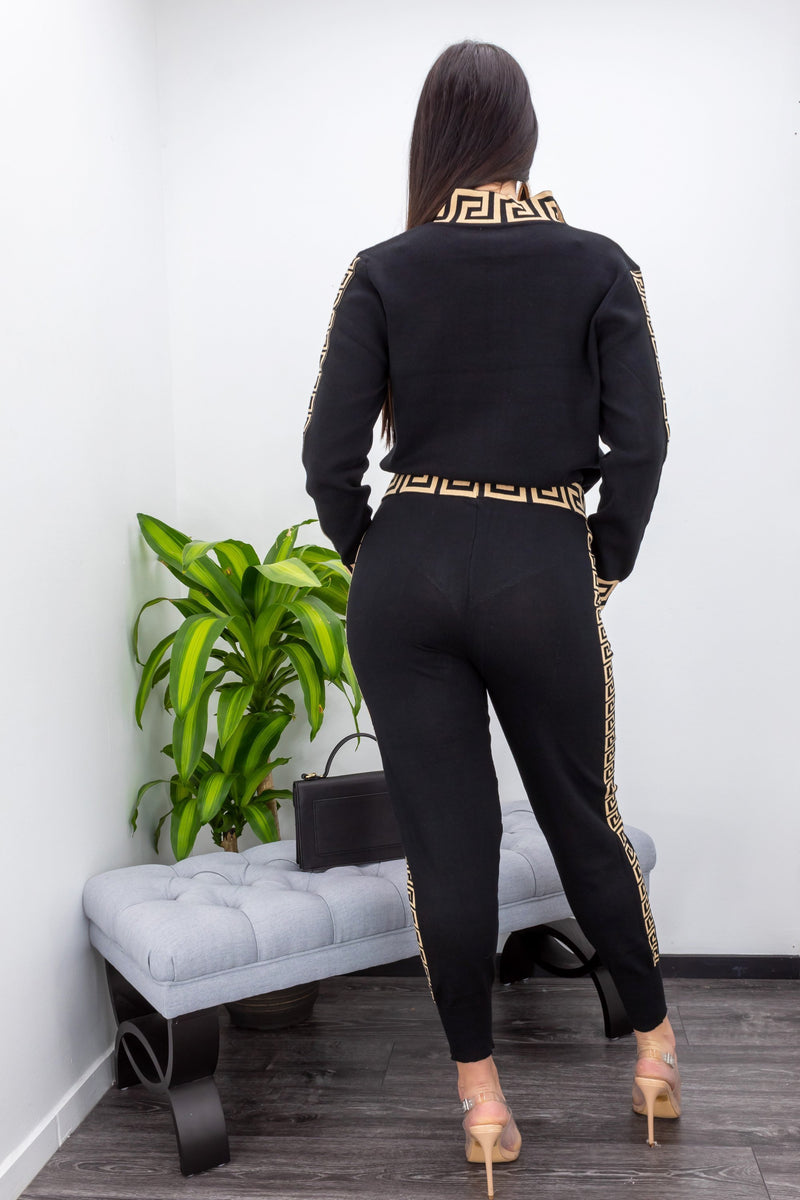 Long Sleeve Zipper Pant Set-Set-Moda Fina Boutique