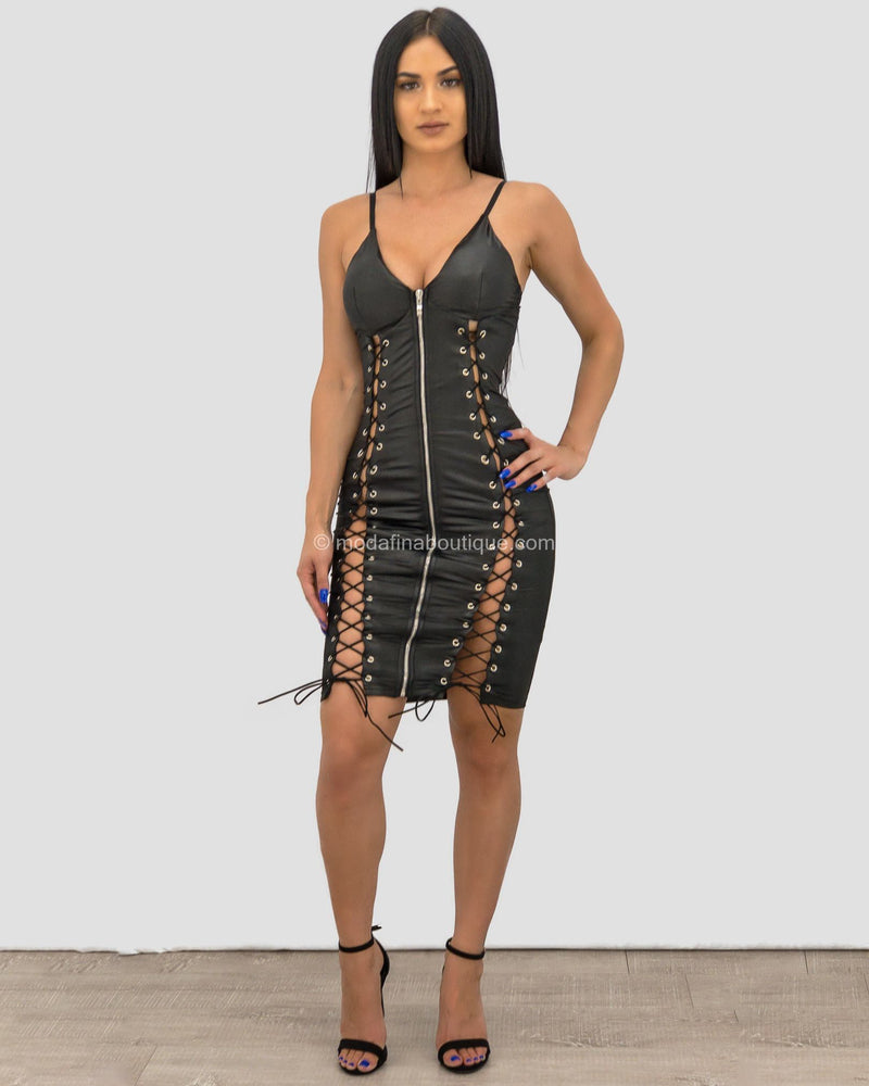 Maya Strappy Side Zip Mini Dress-Mini Dress-Moda Fina Boutique