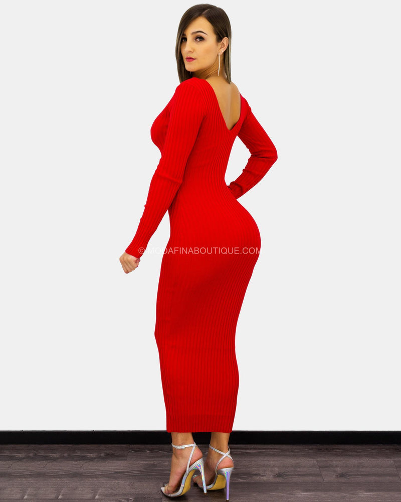 Melissa Plunging Ribbed Long Sleeve Maxi Dress-Maxi Dress-Moda Fina Boutique