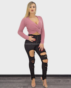 Moria Long Sleeve Fuzzy Top-Top-Moda Fina Boutique