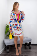 Multi Color Long Sleeve Belted Mini Dress-Mini Dress-Moda Fina Boutique
