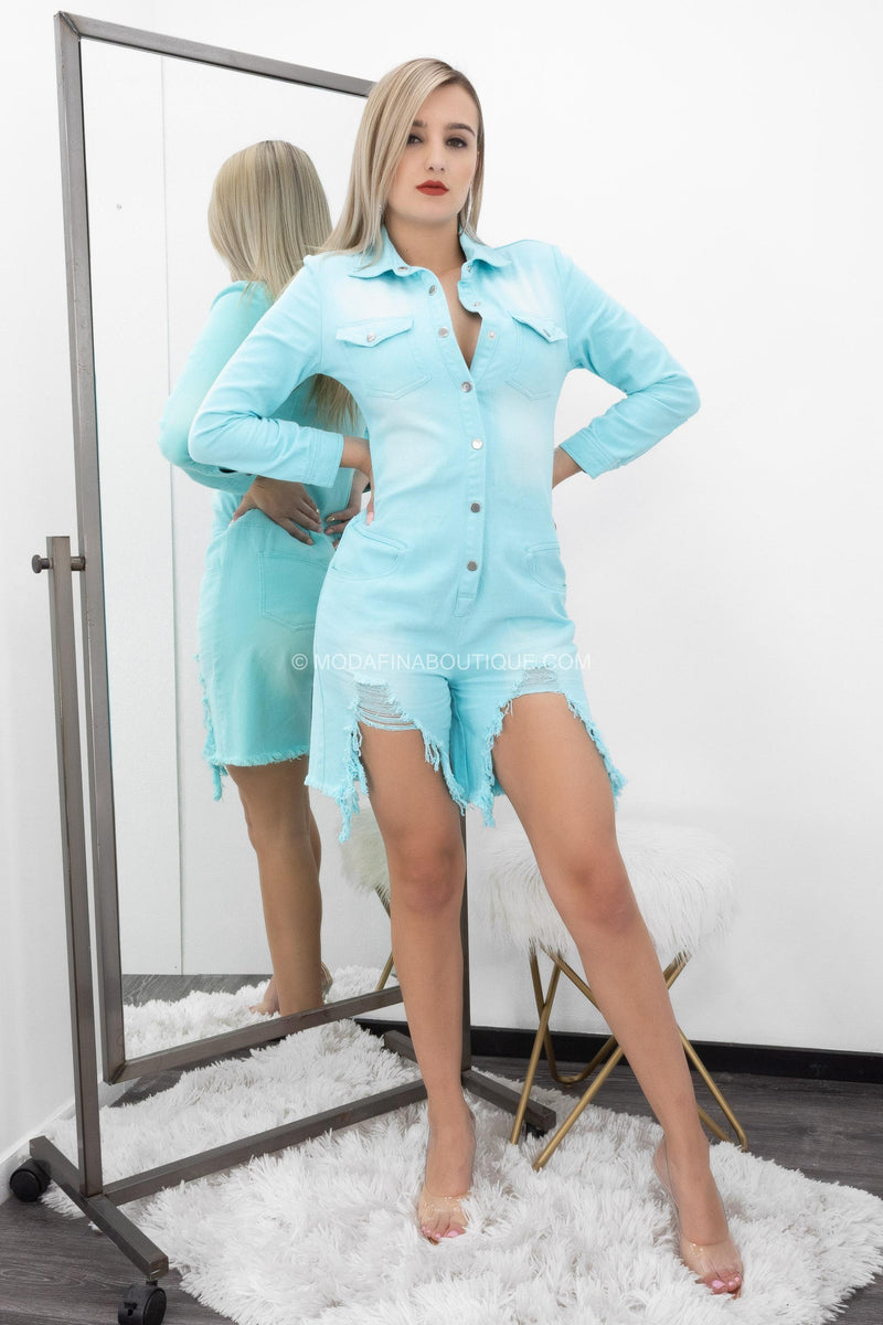 Natisha Long Sleeve Button Up Ripped Jean Romper-Romper-Moda Fina Boutique