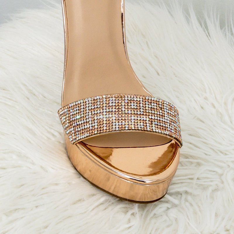 Notice Rose Gold Ankle Strap Rhinestone Encrusted High Heels-Shoes-Moda Fina Boutique