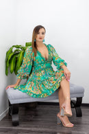 Open Back Long Sleeve Floral Mini Dress-Mini Dress-Moda Fina Boutique