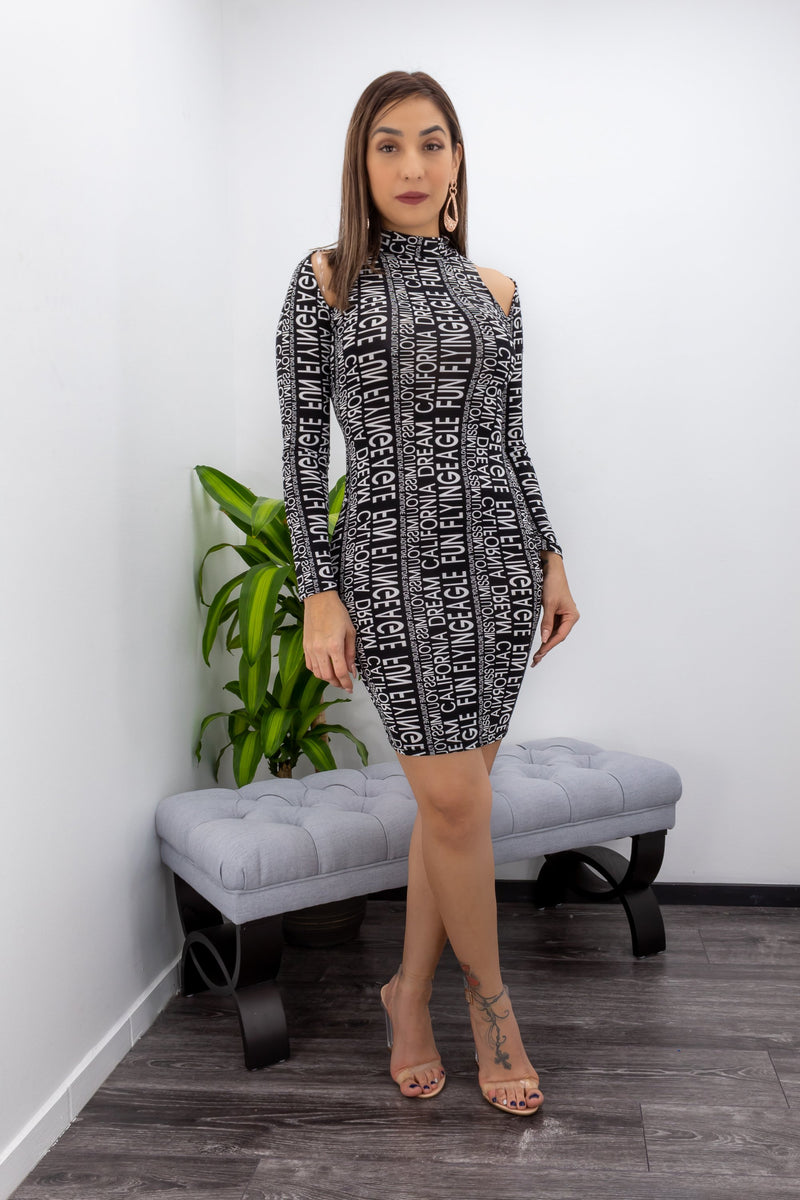 Open Shoulder Long Sleeve Mini Dress-Mini Dress-Moda Fina Boutique