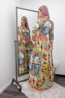 Print Long Sleeve Print Maxi Dress-Maxi Dress-Moda Fina Boutique