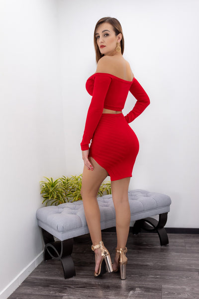 Red Off Shoulder Long Sleeve Two Piece Mini Skirt Set-Set-Moda Fina Boutique