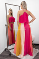 Roselia Halter Colorful Back Zipper Maxi Skirt Set-Set-Moda Fina Boutique