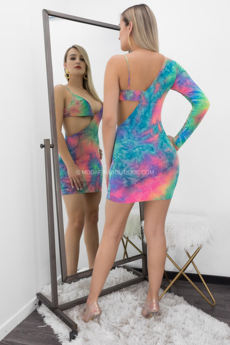 Sharolyn Tie Dye One Sleeve Cutout Mini Dress-Mini Dress-Moda Fina Boutique