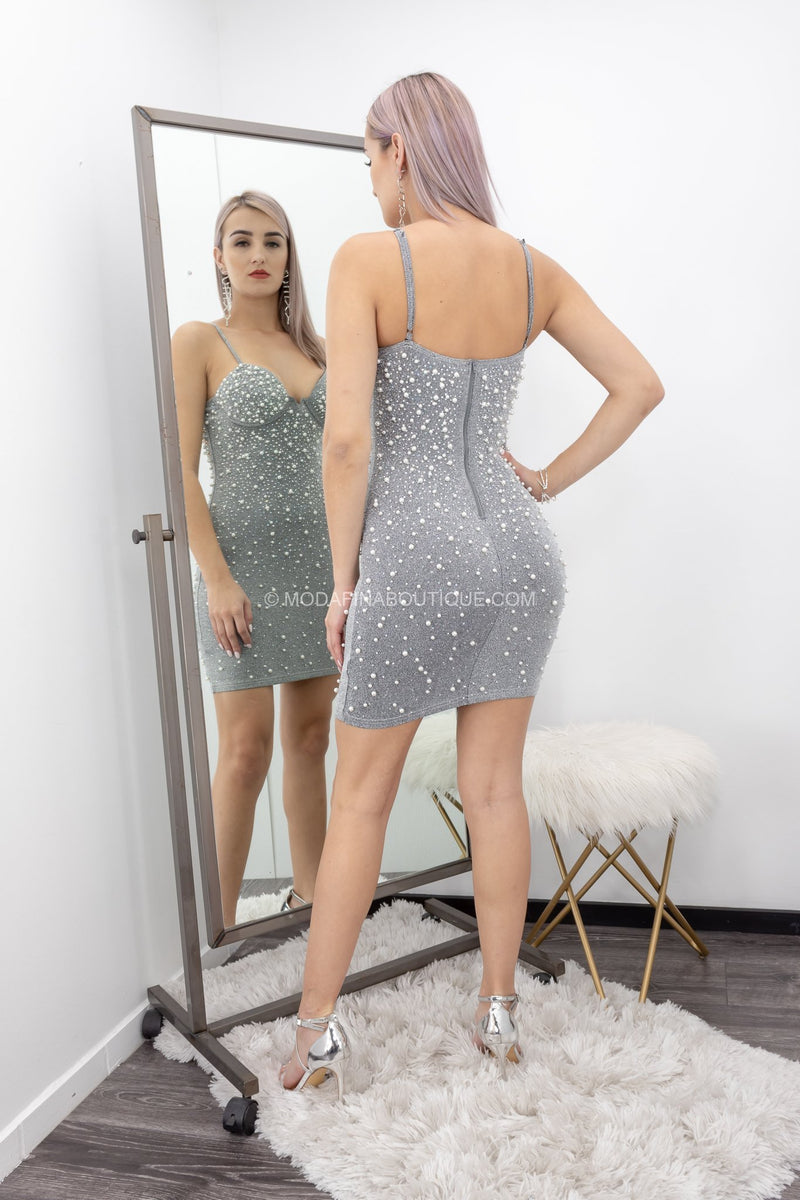 Silver Embellished Pearls Mini Dress-Mini Dress-Moda Fina Boutique