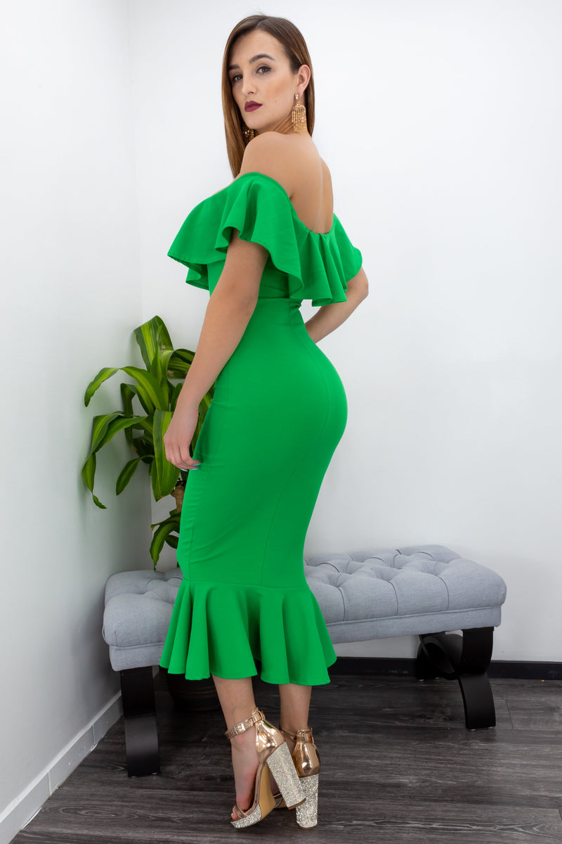 Strapless Ruffle Midi Dress-Midi Dress-Moda Fina Boutique