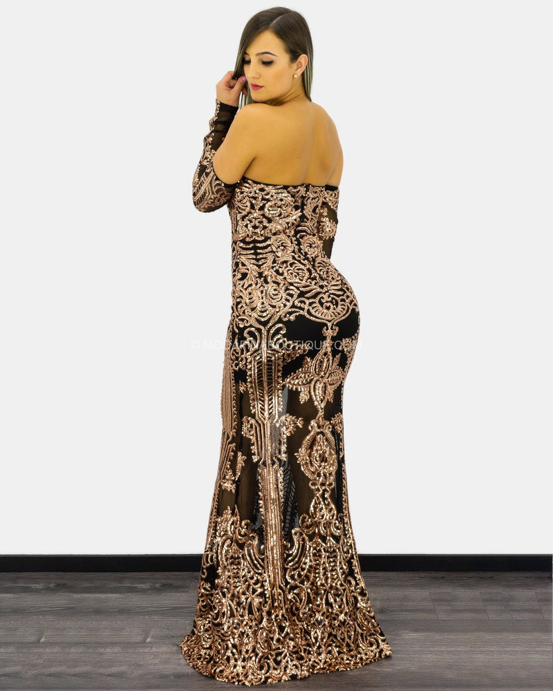 Zoie Strapless Sleeved Sequin Maxi Dress-Maxi Dress-Moda Fina Boutique