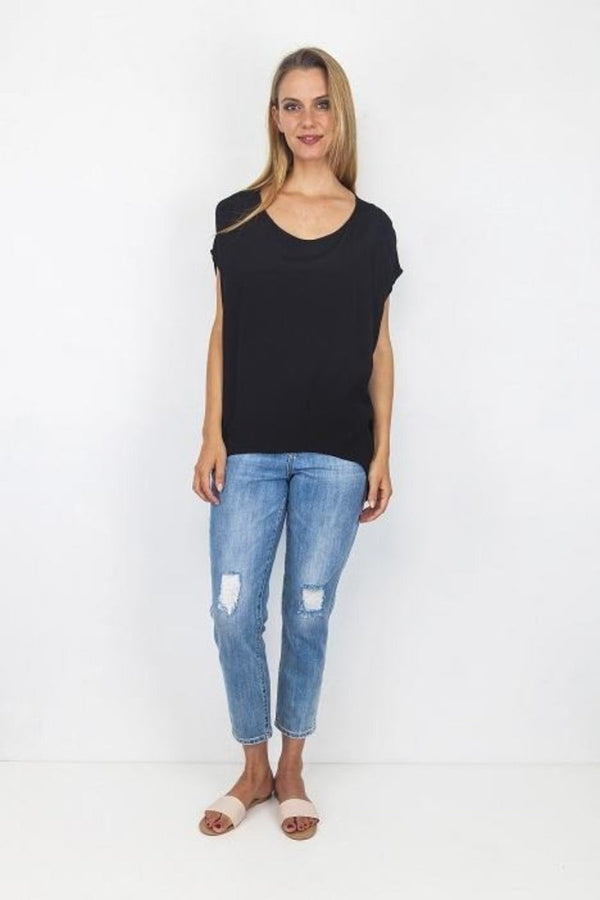Boho Jane Scoop Top - Black