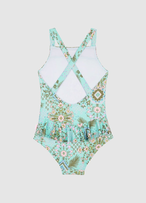 Mini Me Folk Floral Border Tank One Piece