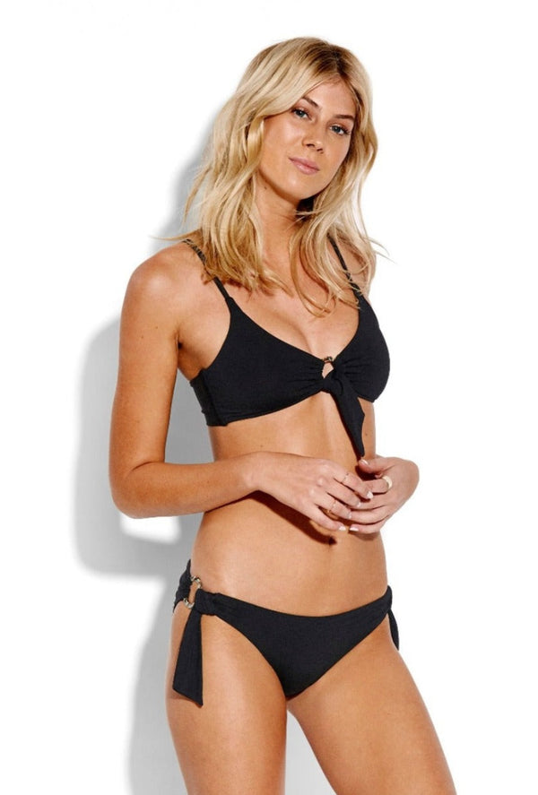 Active Ring Front Bralette Bikini Top - Black
