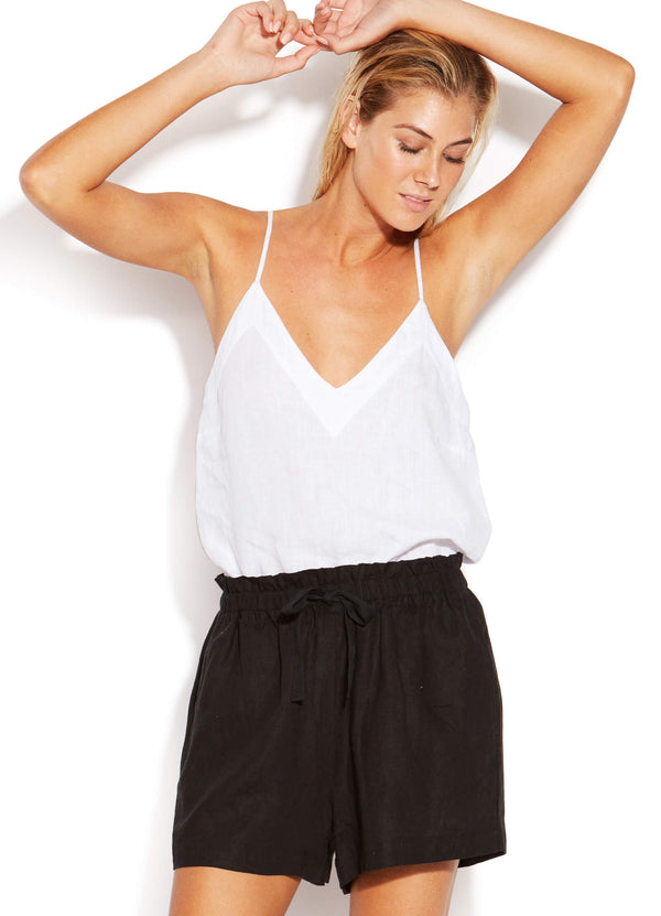 Sunflower Linen Short - Black - Idaho Boutique