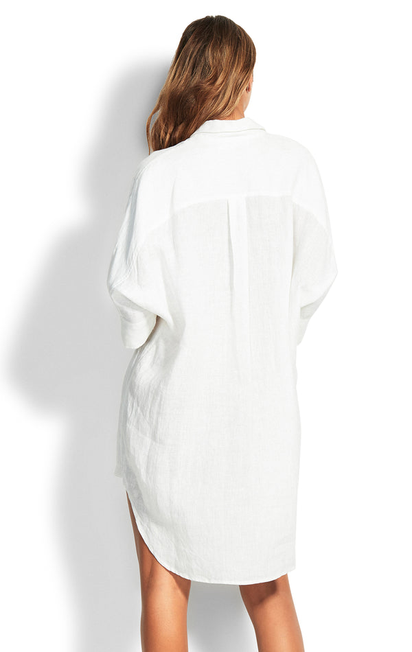 Beach Edit Linen Shirt Dress - White
