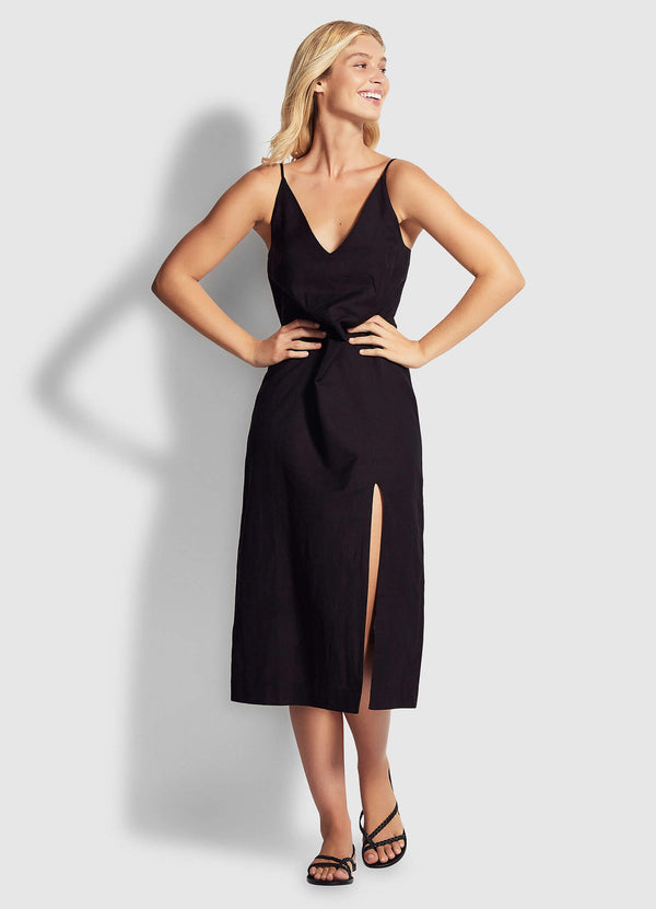 Linen Blend Slip Dress- black