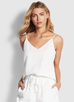 Seafolly Linen Blend Top - White